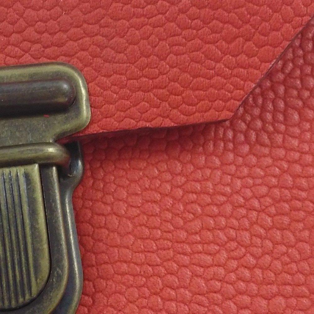 Porte-monnaie en cuir corail façon cartable couture noire
