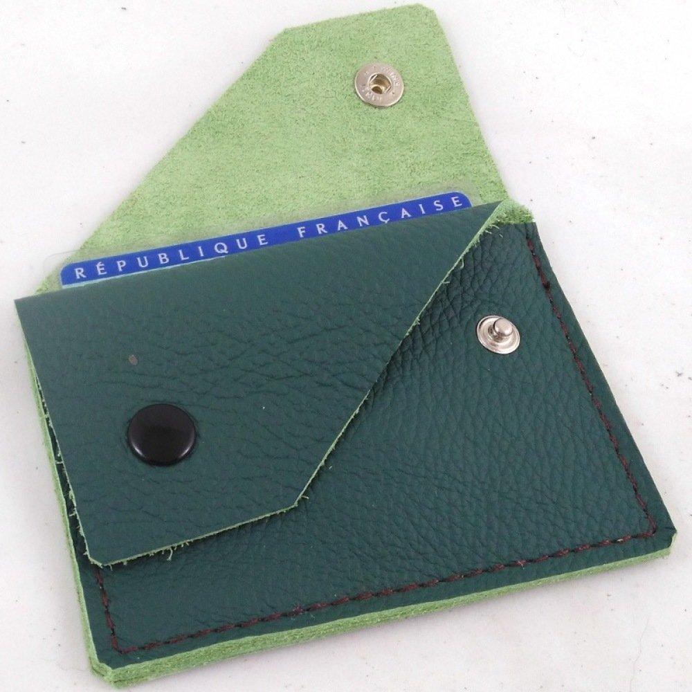 Porte-monnaie en cuir vert forêt couture paille 2 poches