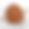Barrette à cheveux en cuir tannage vegetal motif accolade ba099