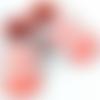 Chausson bébé en cuir d'agneau saumon et blanc avec dentelle blanche