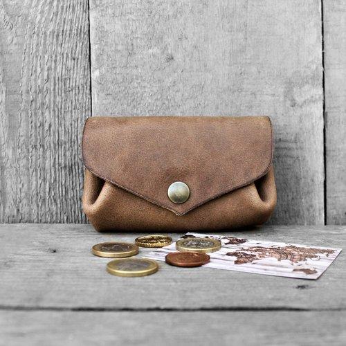 Porte-monnaie à 3 compartiments en cuir écologique