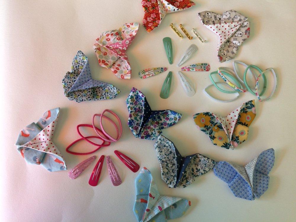 Broche , barrette papillon origami