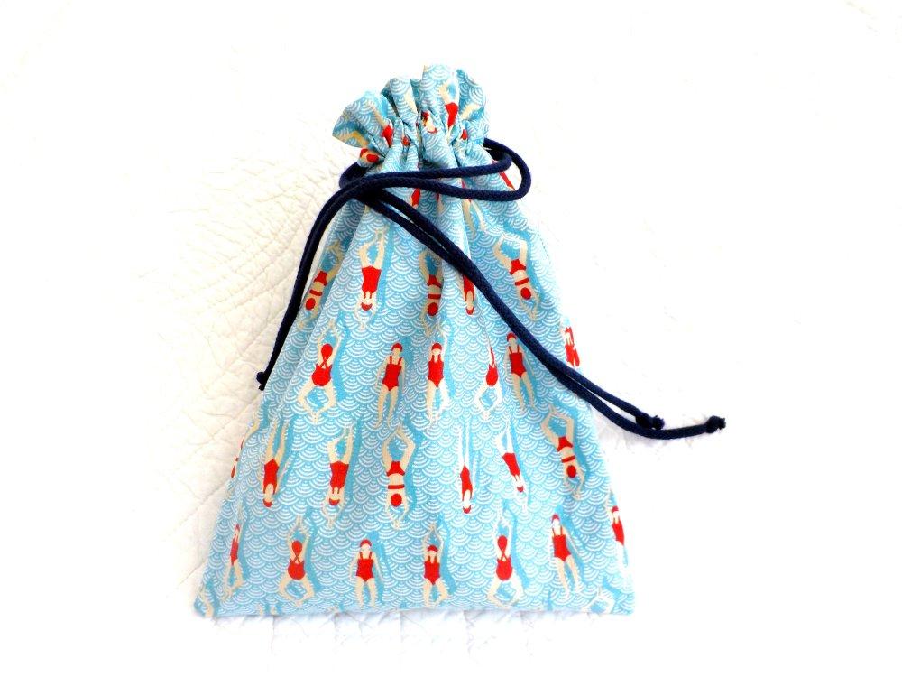 VENDU Sac piscine, coton , coton enduit, bleu rouge, pratique, fait main