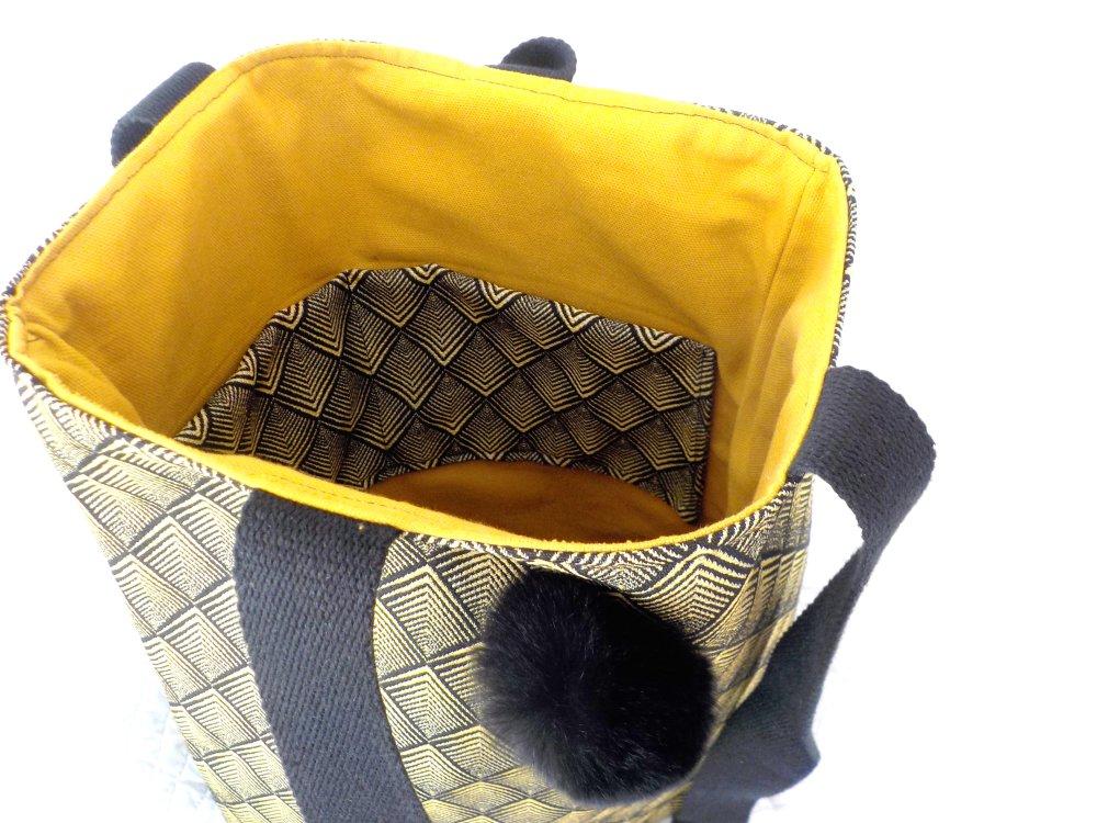 Sac cabas en coton jacquard, noir et doré, porté épaule, fait main