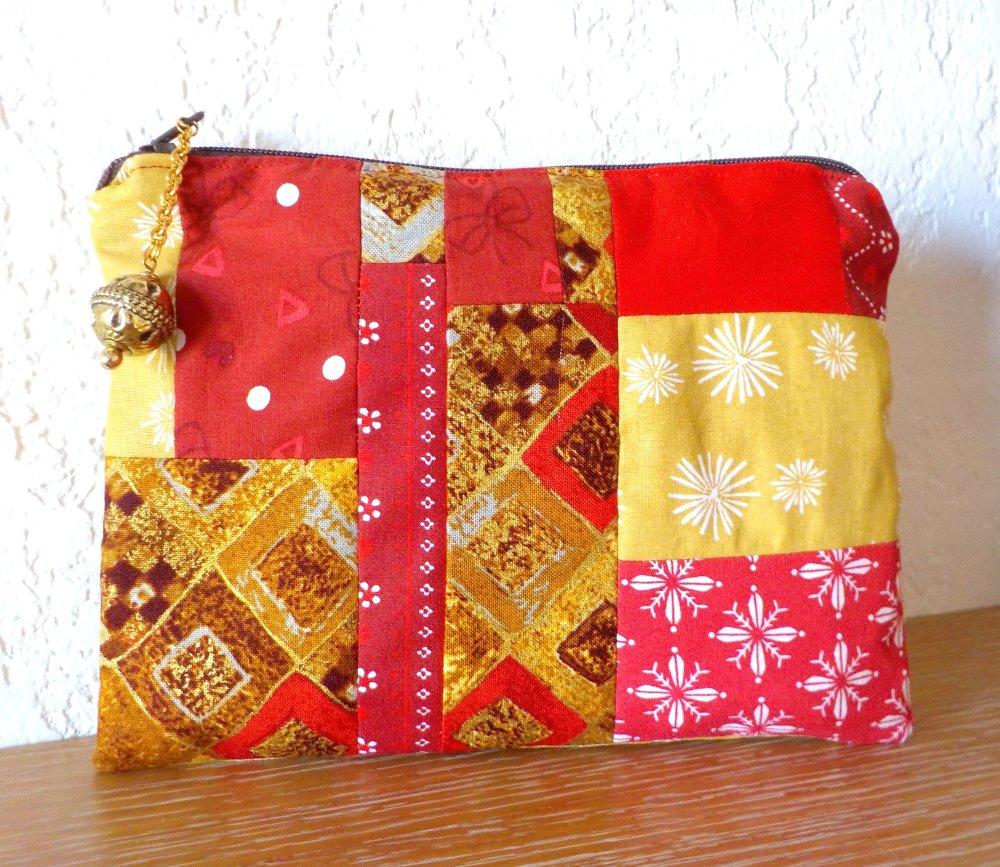 Trousse, patchwork, coton, breloque, perle, fait main