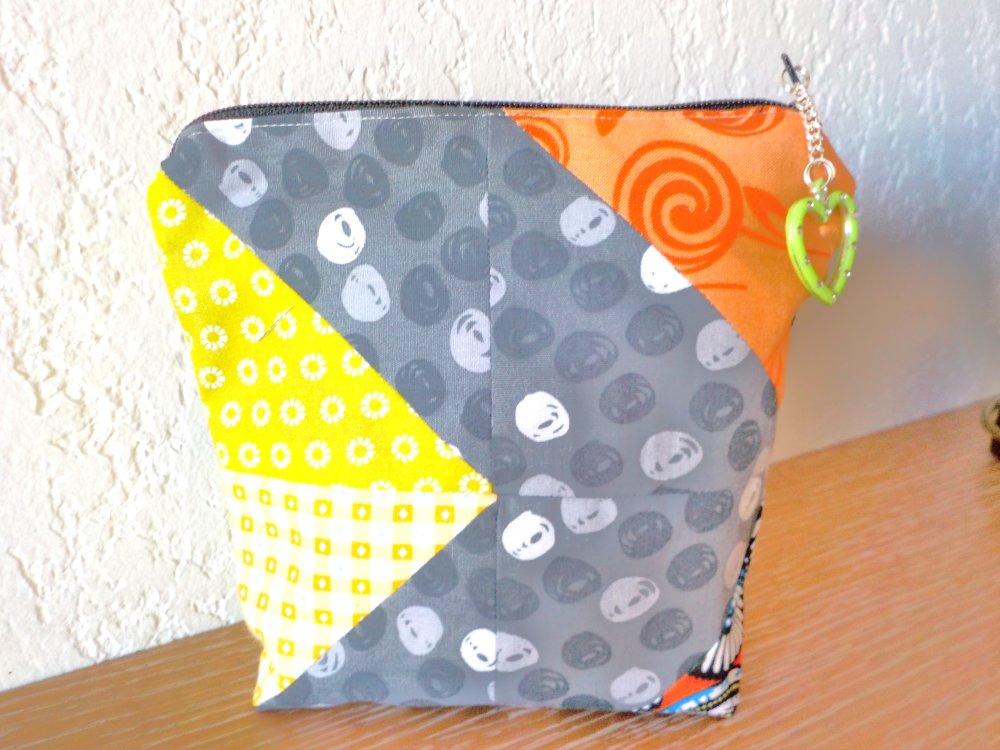 Trousse, patchwork, coton, multicolore, modèle unique, fait main