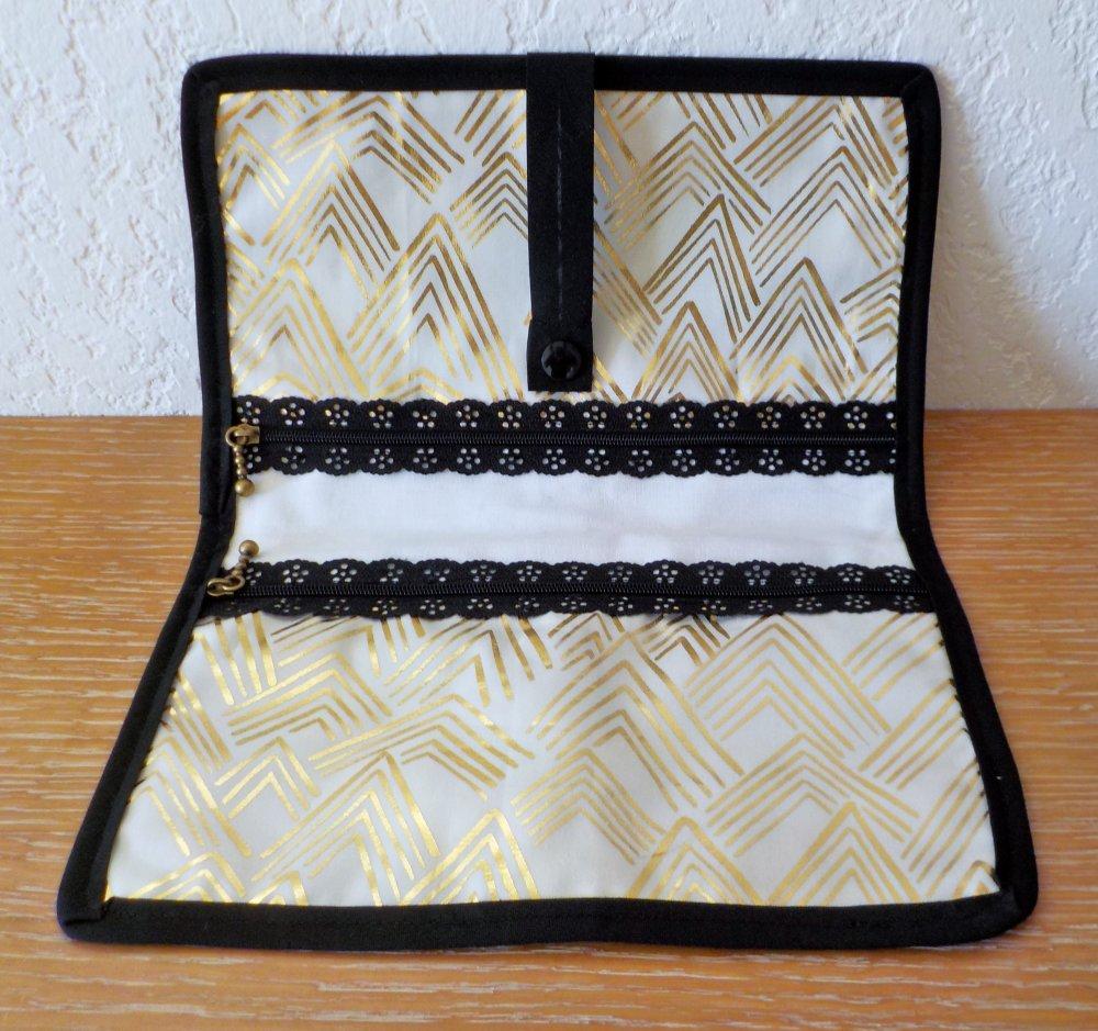 Pochette plate, 2 poches, doré, noir, femme, fait main