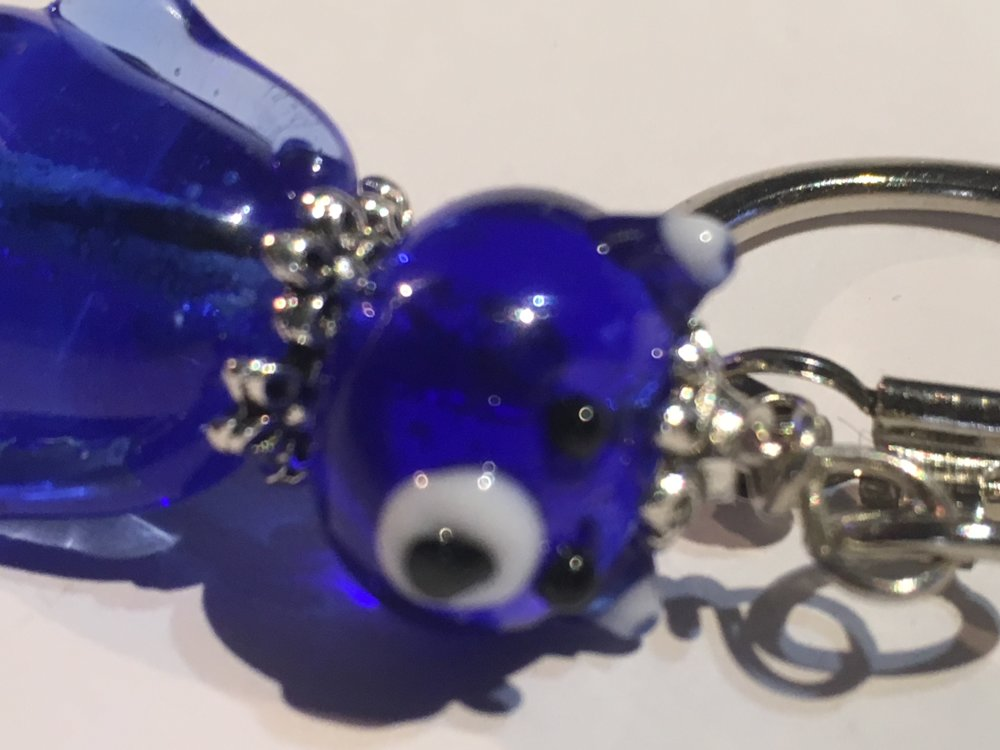 Ourson bleu marine transparent en verre de murano