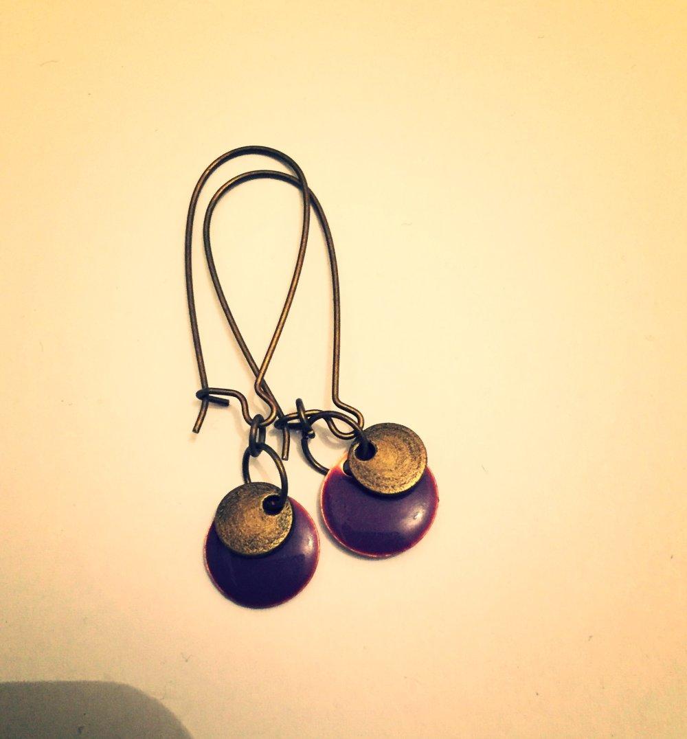 Boucles d'oreille, bohèmes, sequin violet et doré