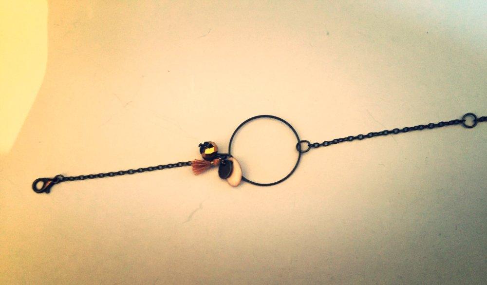 Bracelet les bohèmes chic, anneau, pompon et sequin écru