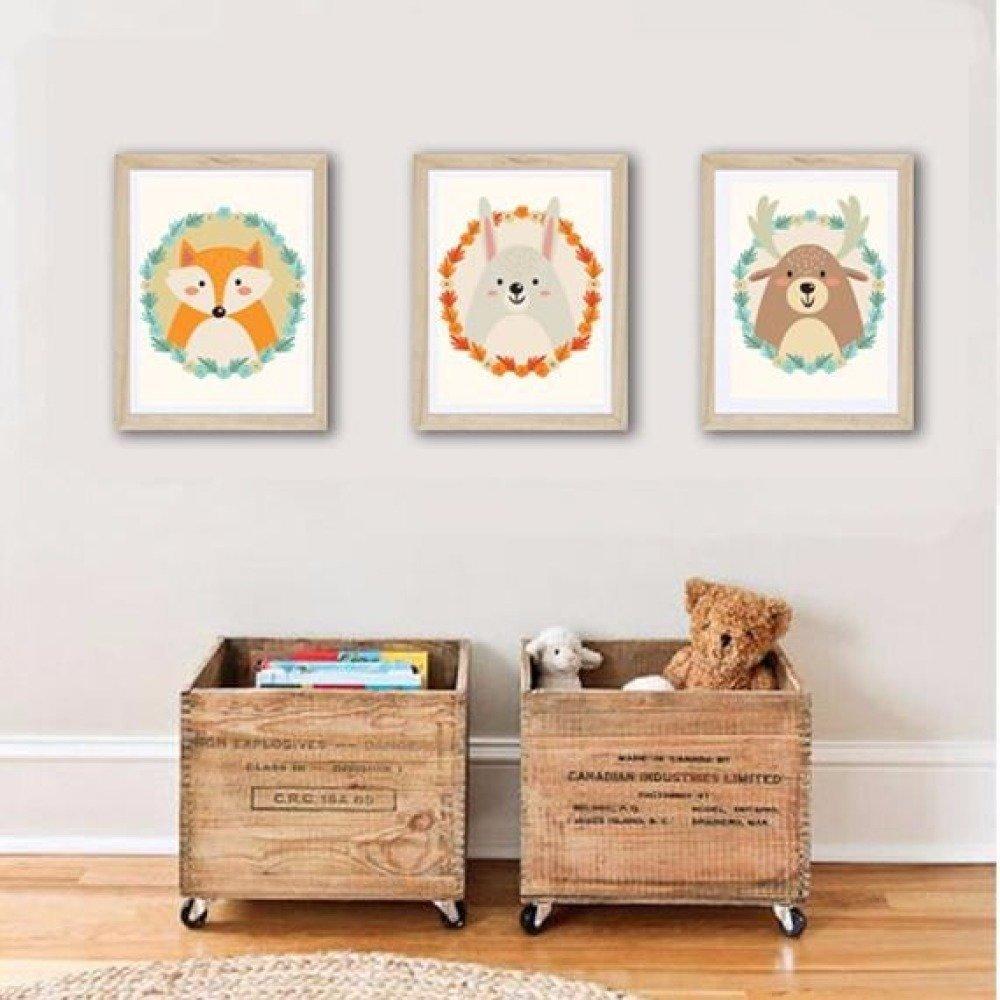 Affiches décoration chambre enfant cerf lapin et renard orange