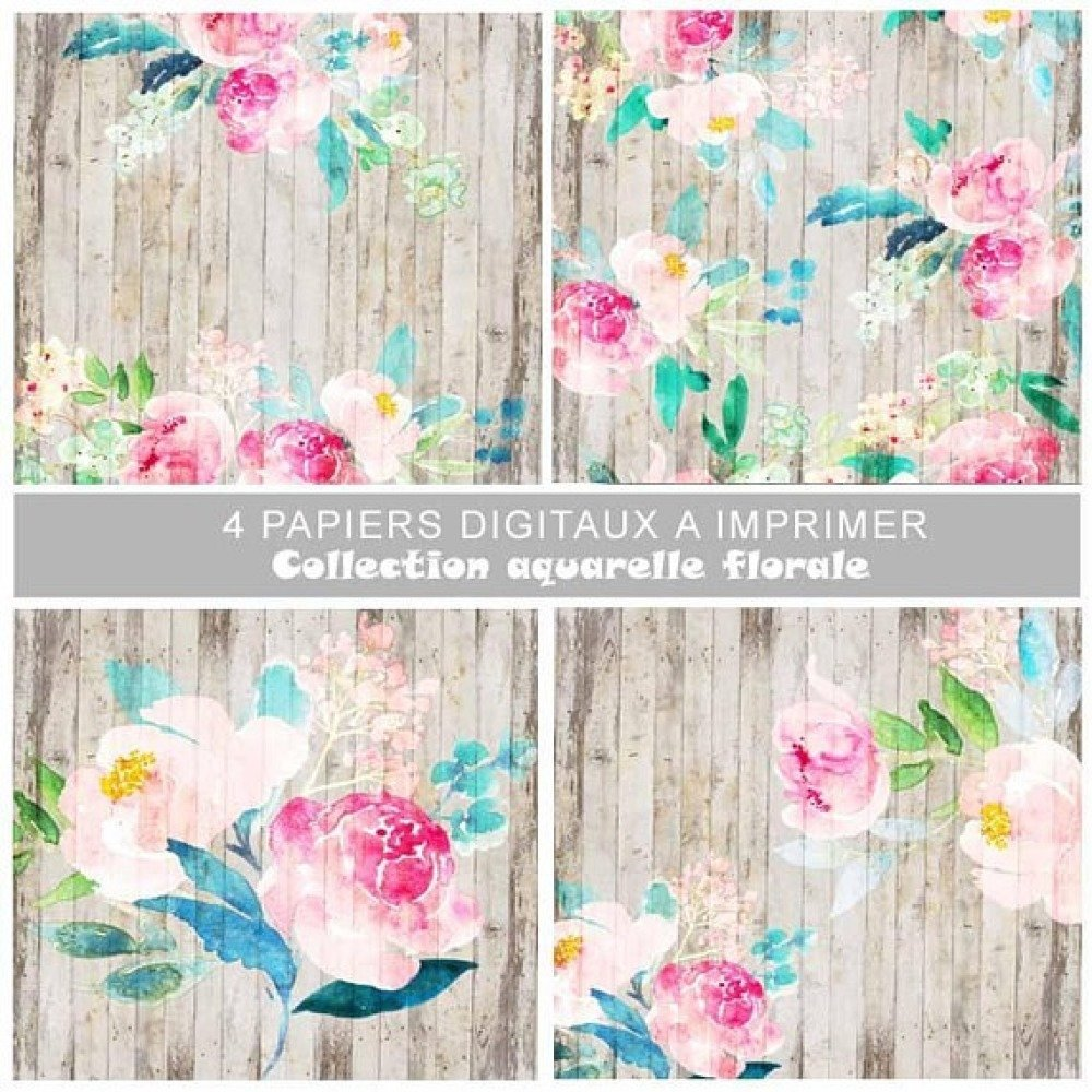 Impression Photo Planche Bois papiers fond numérique scrapbooking à télécharger à imprimer, planche de  bois, fleur, aquarelle florale, papier digital, scrapdigital