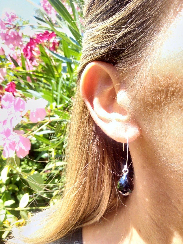 Boucles d'oreilles CALIOPE en argent 925 Topaz fumé