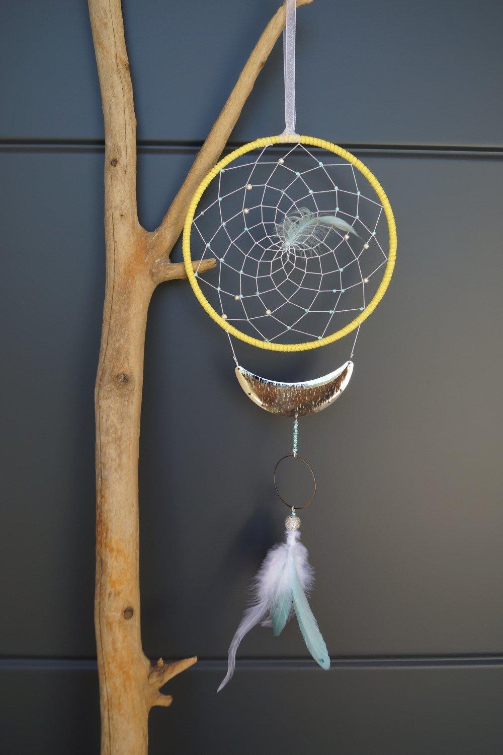 "Attrape rêves/Dreamcatcher Ethni-design "" West"" Inspiration Mint And Lenon diam 15 cms"