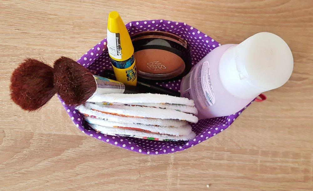 Ensemble de 6 cotons démaquillants tout doux et panier assorti, cadeau pour femme, rangement maquillages, rangement salle de bain