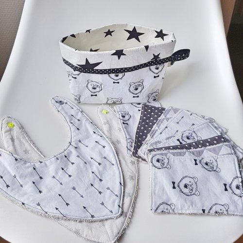 Ensemble naissance: 9 lingettes lavables, panier et 2 bavoirs bandana assortis, cadeau bébé, cadeau naissance, soin bébé, soin enfant,
