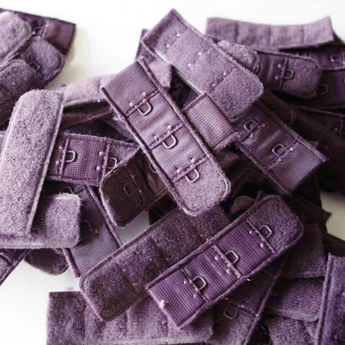 Attache soutient gorge - violet- largeur 2 cm - made in france