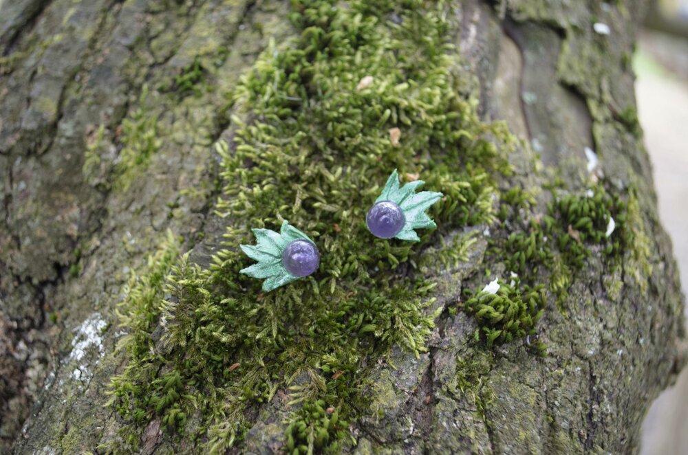 Boucles d'oreilles en porcelaine froide et améthystes | Elven