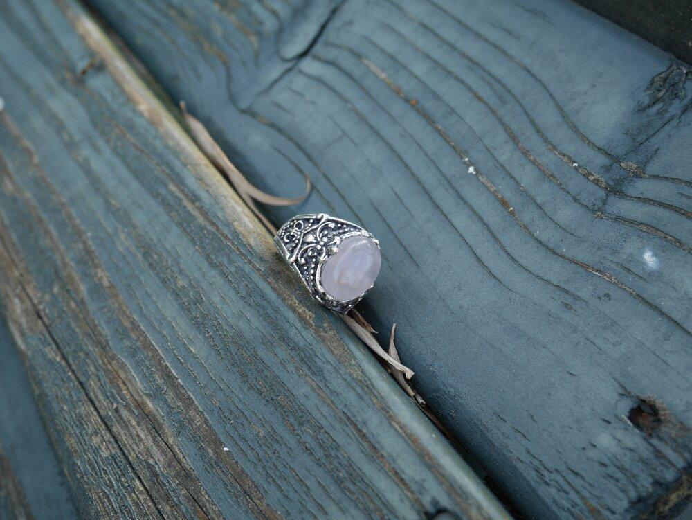 Bague elfique en laiton | Quartz rose, Imitation d'Opale, Péristérite ou Agate bleue | Dusra