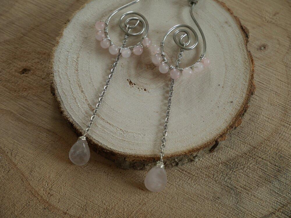 Boucles d'oreille en cuivre étamé et quartz rose | Enwel