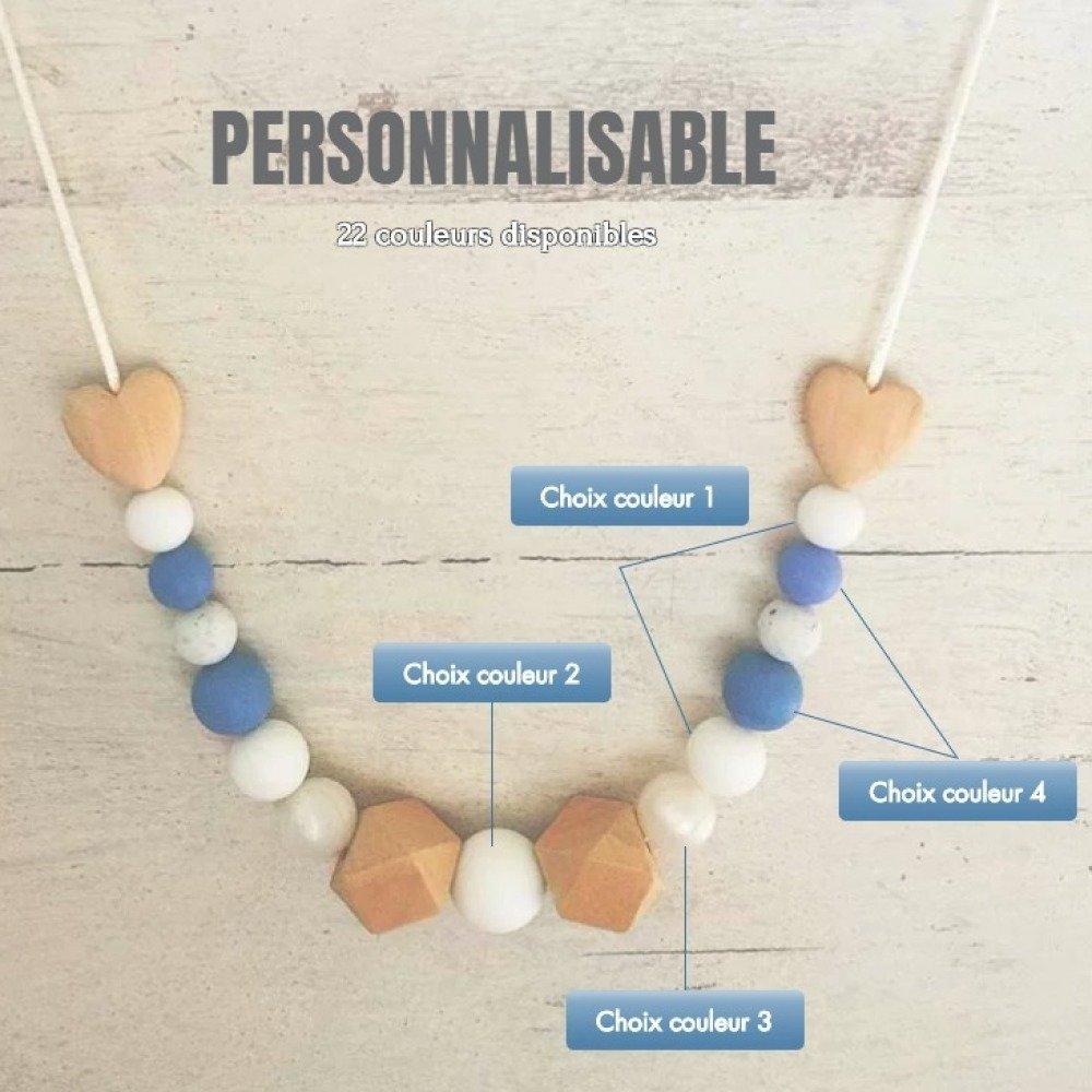 Collier de portage ou d'allaitement personnalisable - couleurs au choix