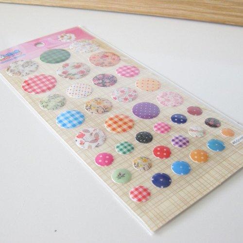 1 planche de 36 stickers pvc (3d) - liberty - scrapbooking