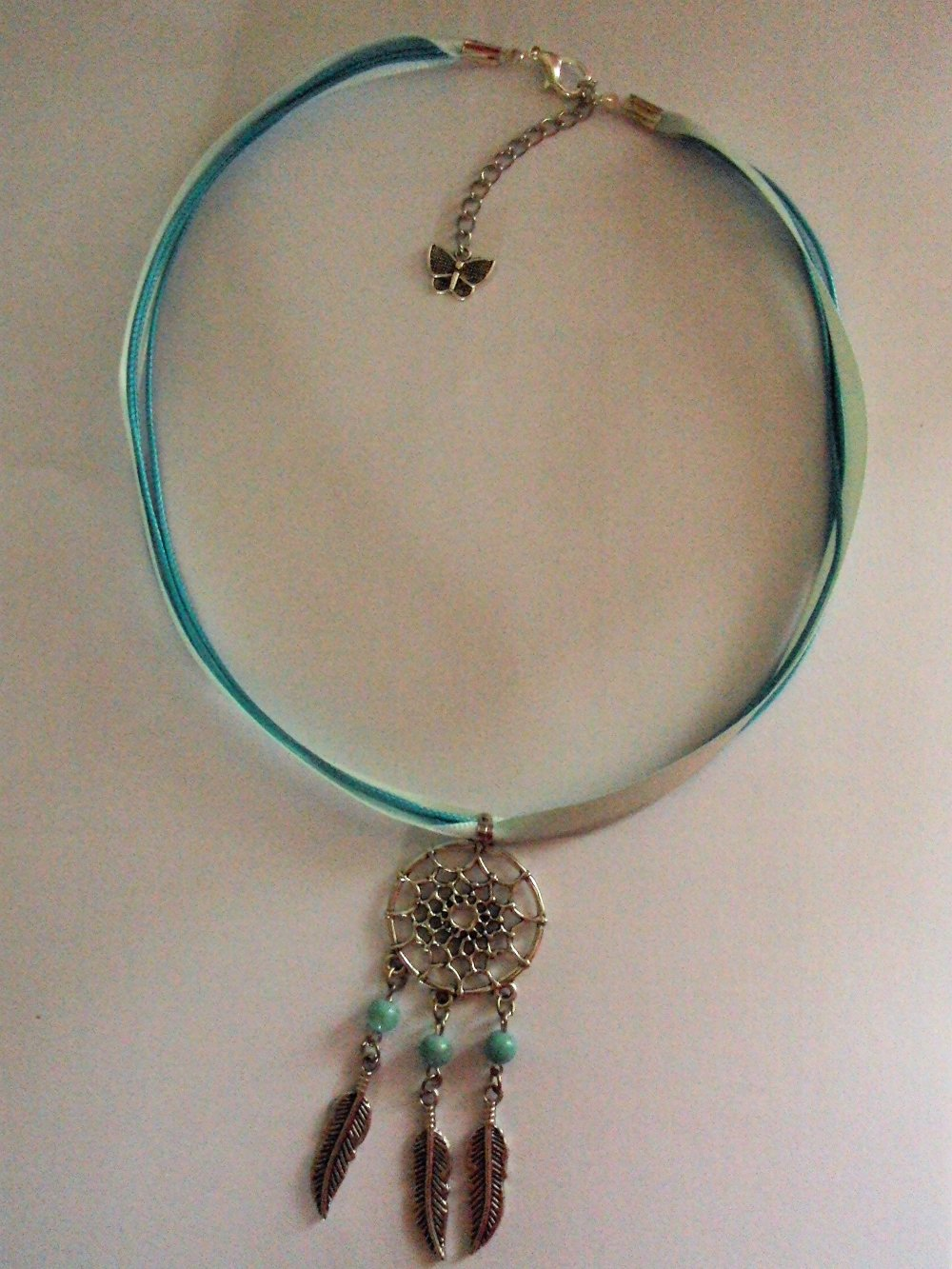 Collier, ras de cou style ethnique, pendentif attrape rêve, vert turquoise