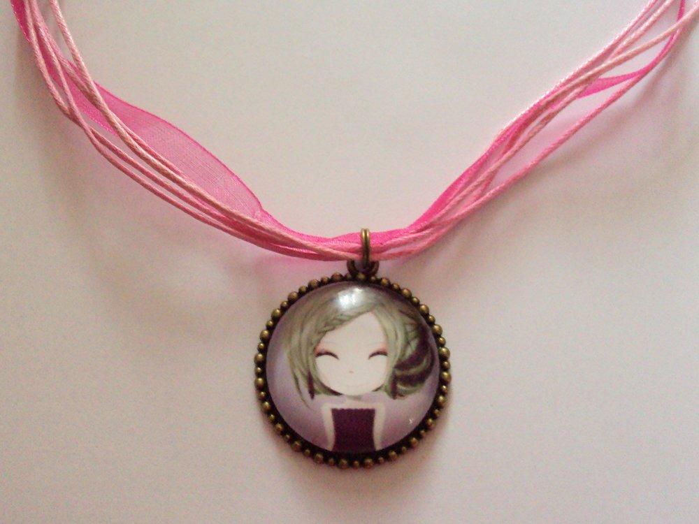 Collier, ras de cou avec pendentif en verre cabochon dôme, petite fille mode kawaï