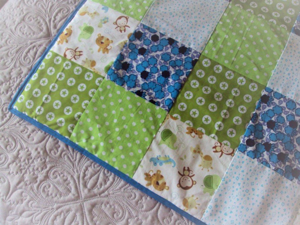 Couverture bébé, plaid douillet pour lit d'enfant, tissu patchwork