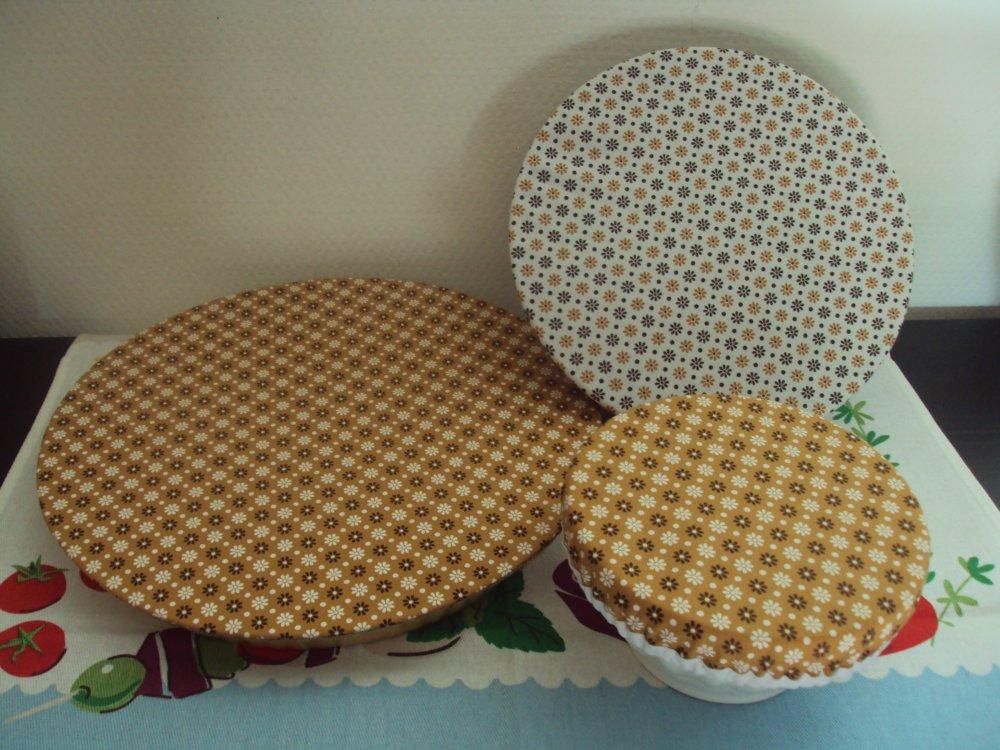 Couvre plat, lot de 3, charlotte pour saladiers,bols, plat à tarte... Objectif zéro déchet