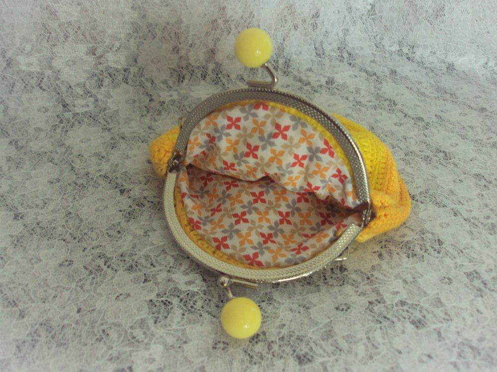 Porte monnaie dégradé jaune avec fermoir argenté à boules