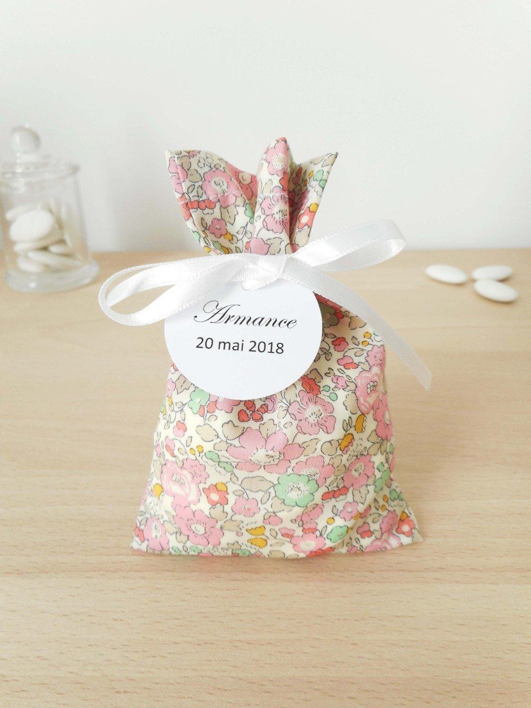 Lot 2 ballotins à dragées - Mariage & Baptême - Thème Liberty Betsy Ann sweet pink - Tissu et ruban blanc