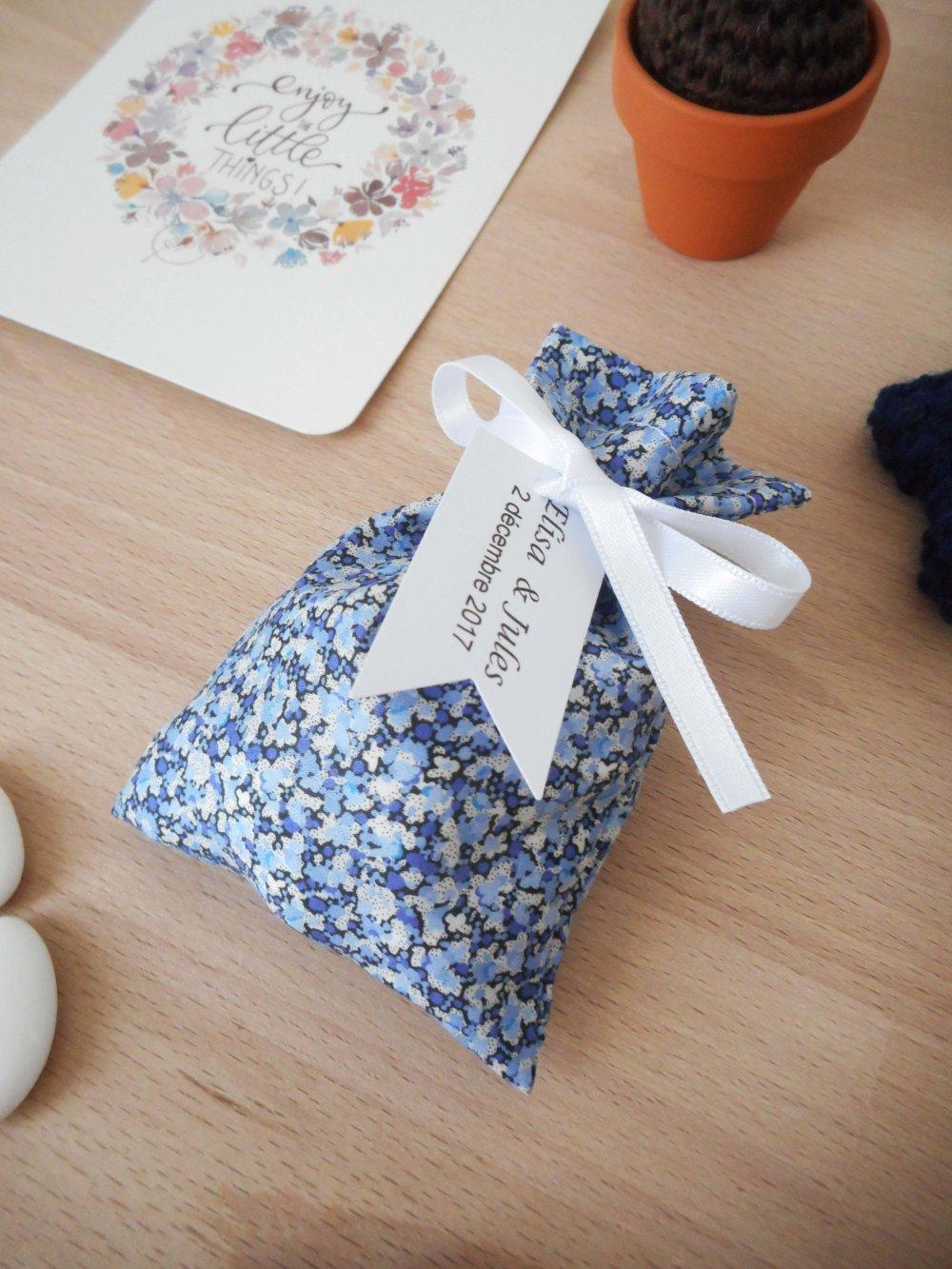 Ballotin à dragées Liberty Pepper R ruban blanc étiquette papier personnalisable