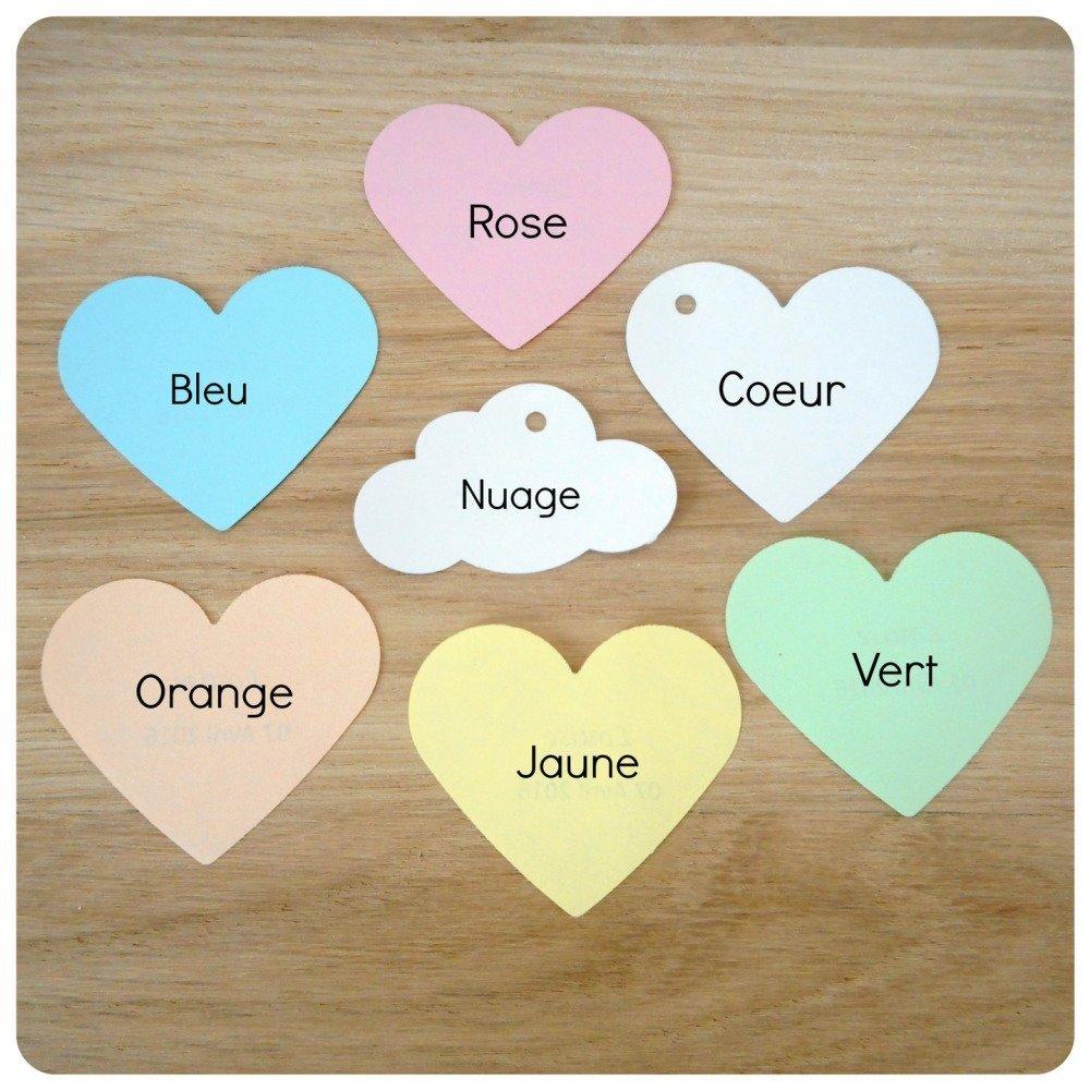 1 Lot de 10 étiquettes papier personnalisées - Mariage & Baptême - Forme coeur, nuage ou étoile - marque place