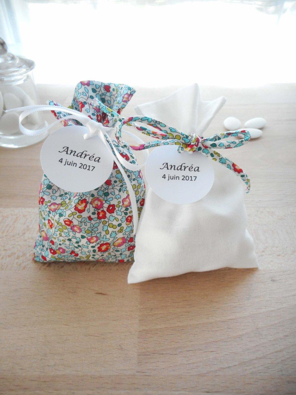 Lot 2 ballotins à dragées - Mariage & Baptême - Tissu Liberty Eloïse turquoise et tissu uni blanc