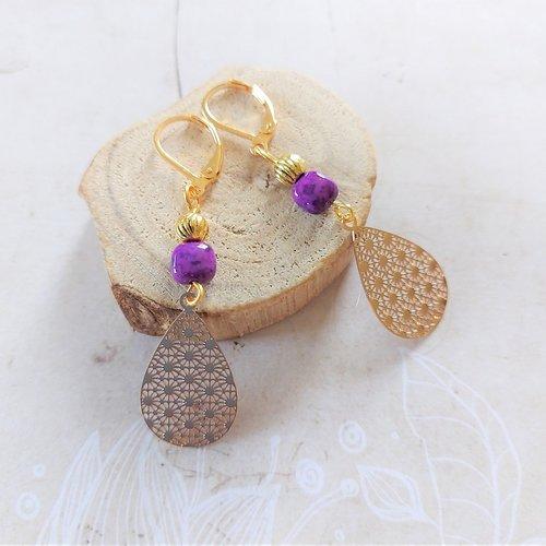"""Boucles d'oreilles """" zohra"""" couleurs or et violet"""