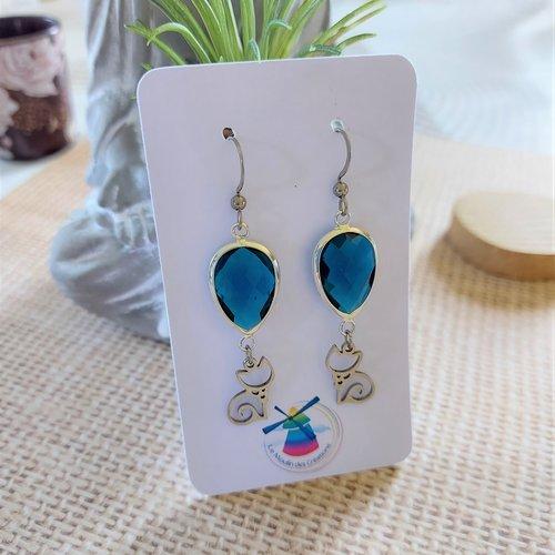 """Boucles d'oreilles """" chat """" verre et acier - couleur turquoise"""