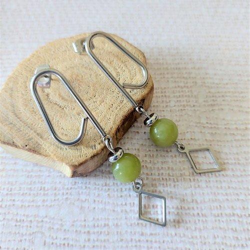 Boucles d'oreilles clous en acier inoxydable - perle de jade