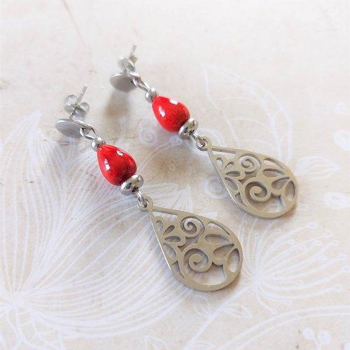 Boucles d'oreilles en acier inoxydable et perle rmarbre rouge