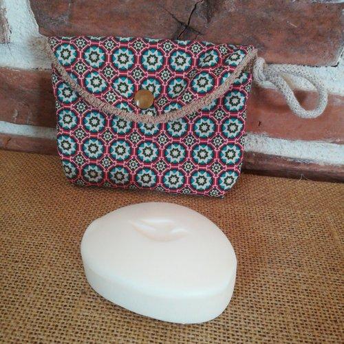 Pochette nomade à savon collectione tissu coton éponge 14x10cm