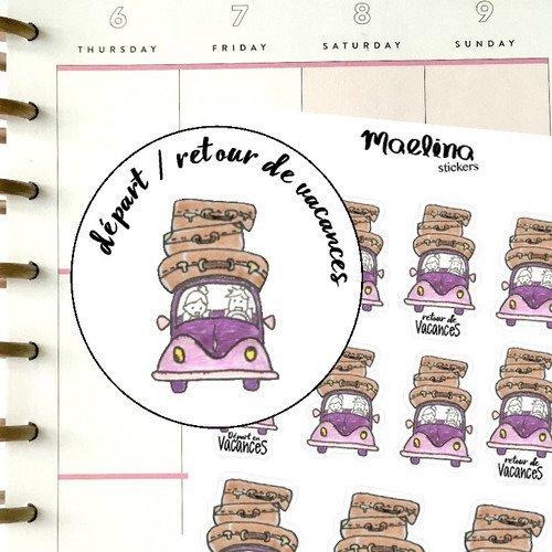 Autocollants bullet journal, stickers agenda, départ en vacances, voiture, trajet, voyage, valise, vacances, scrapbooking, happy planner
