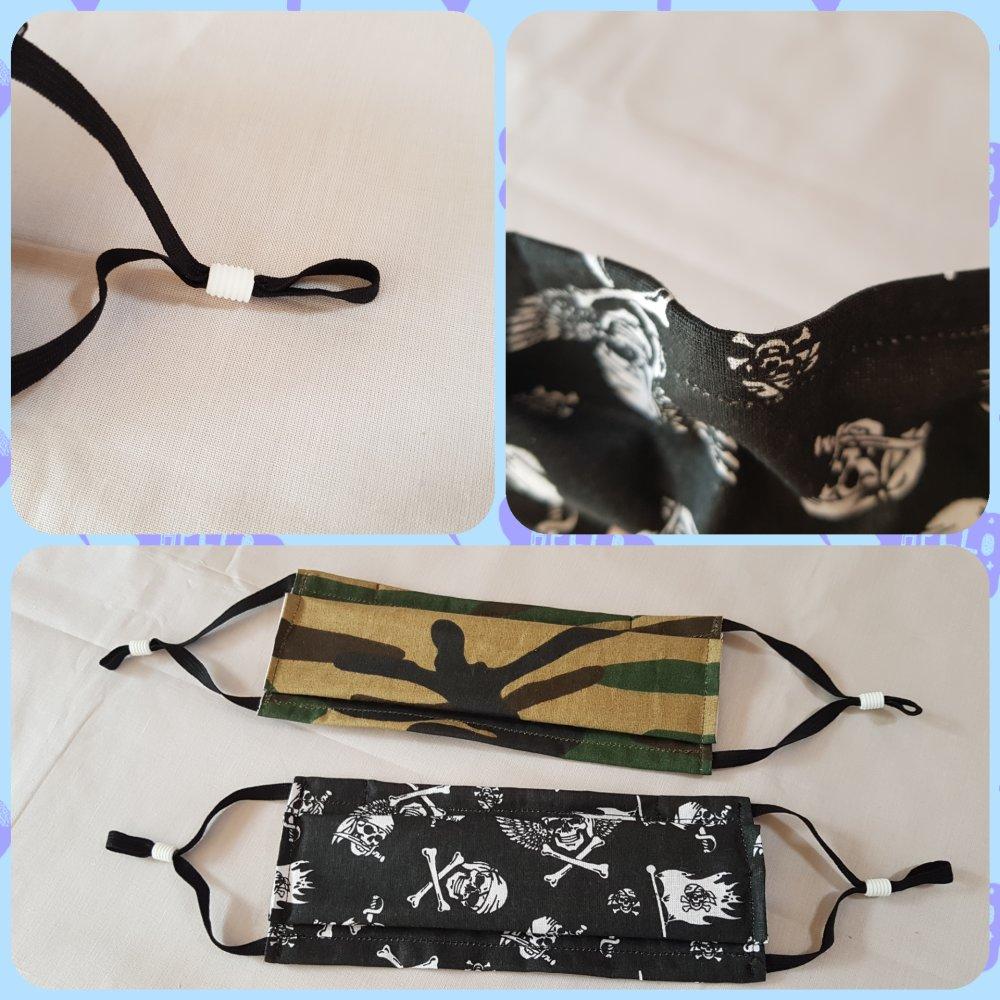 masque de protection - 2 plis - 3 couches de tissu - selon le modèle AFNOR
