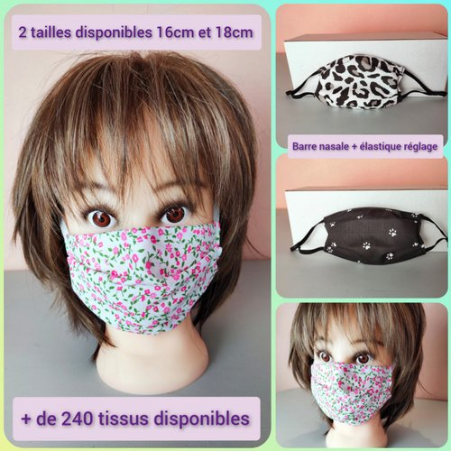 Masque de protection (pollen, pollution..) 2 tailles - 2 plis - 3 couches de tissu (coton et médical non tissé)