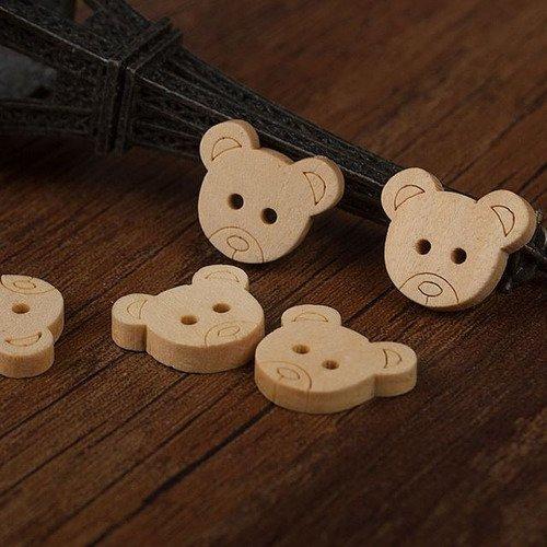 10 x 13x11mm en bois boutons en forme comme le visage d/'un ours en peluche.