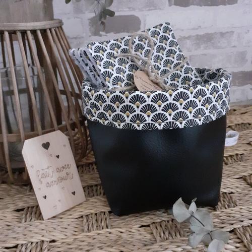 Lingettes lavables géométrique noir +panier noir