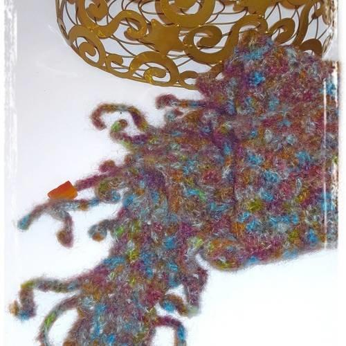 Echarpe mohair multicolore  au crochet  accessoire mode femme fantaisie
