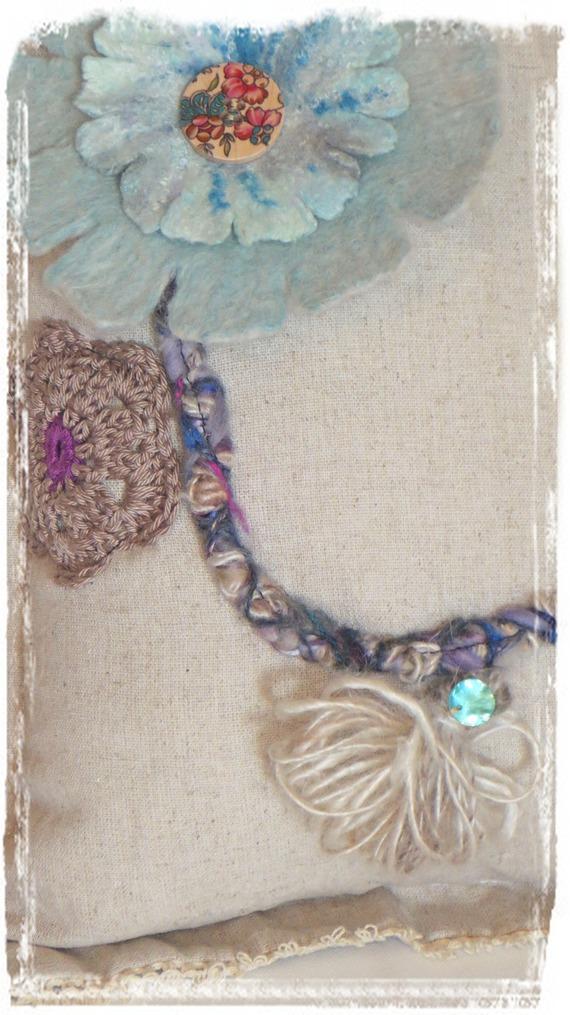 Coussin Déco Bohème lin et laine écru, turquoise, violine Accessoire Maison