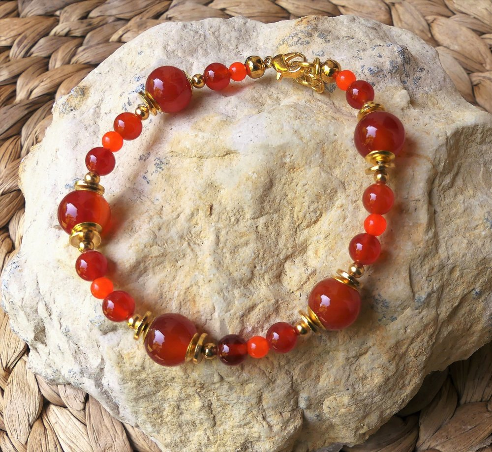 Bracelet aux cornalines et jade orange