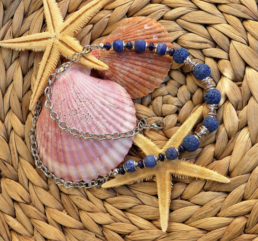 Collier ras du cou en lapis-lazuli et perles de lave