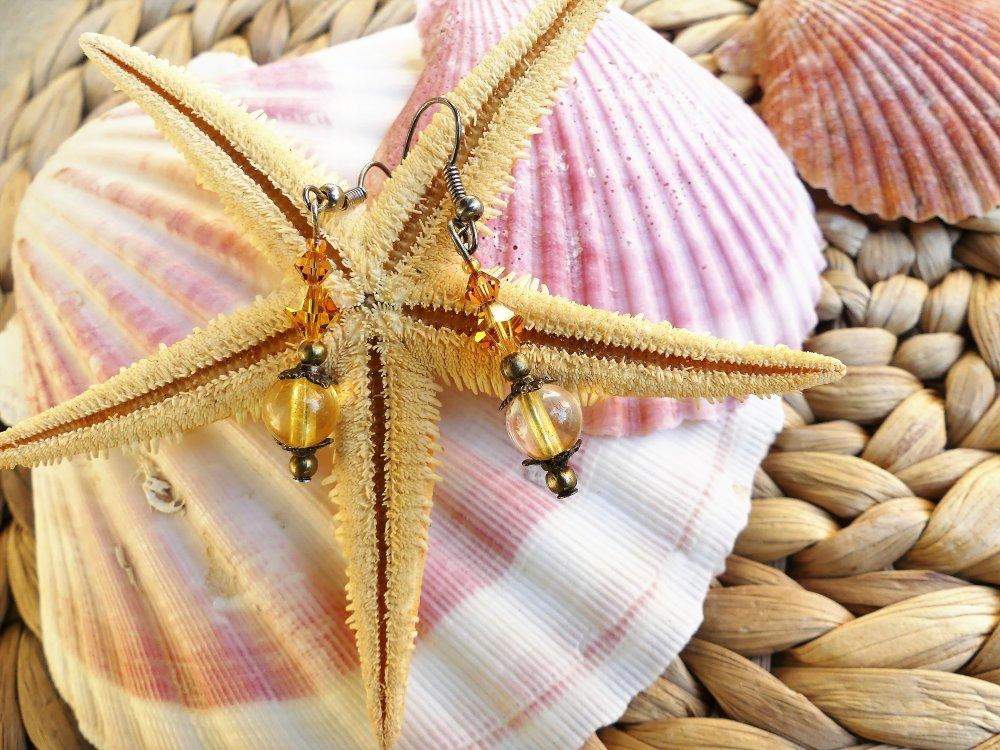 Boucles d'oreilles en quartz jaune et toupies Swarovski